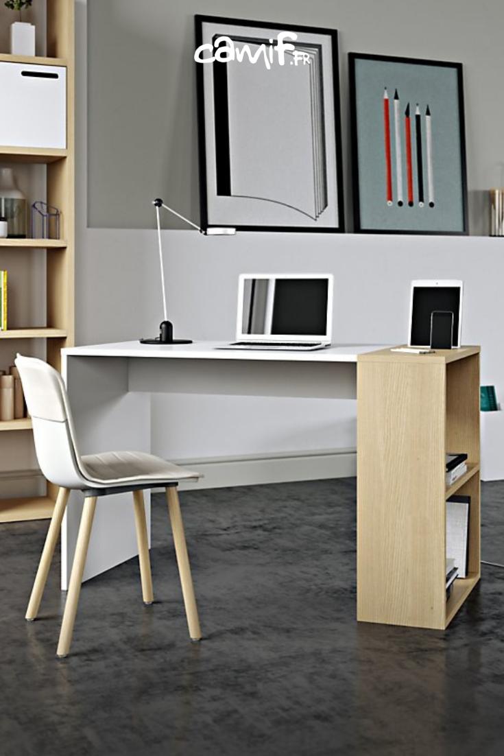 Bureau Teva Bicolore En Bois Naturel Et Blanc Mat Avec Rangement Lateral Bureau Meuble Mobilier