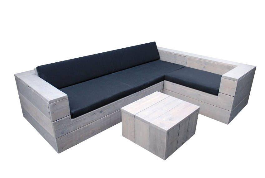 Tuinset bouwtekening voor een lage tafel met een hoekbank van steigerhout    Steigerhout