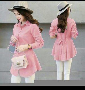 Jual Baju Atasan Wanita Baju Busui Hibie Pink Soft Kemeja Baju Kerja Blouse… 94b2411ad4