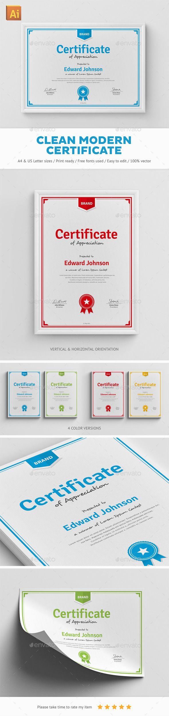 Clean Modern Certificate | Urkunde, Urkunden und Vorlagen