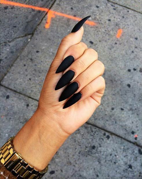 Black Matte Stiletto Nails Stayglam Beauty In 2019 Matte Nails