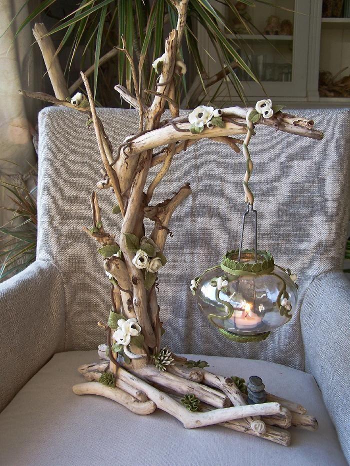 lampe lectrique en bois flott et porcelaine froide. Black Bedroom Furniture Sets. Home Design Ideas