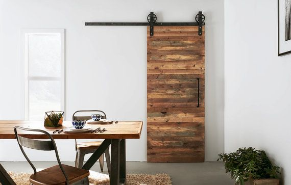 Custom Built Reclaimed Wood Sliding Door Sliding door, Doors and Woods