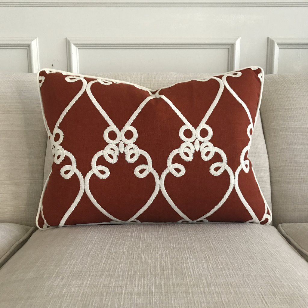 Red Embroidered Linen Welt Trim Decorative Pillow Cover 16 X 22