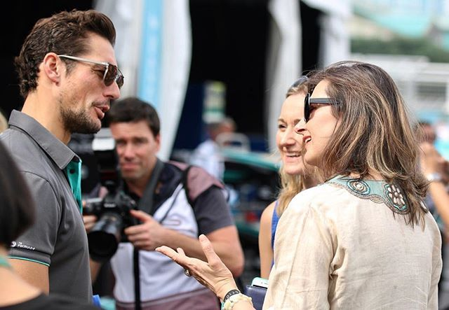 Can I be very clear that @anca.comanbal and I worked really hard this weekend at the #FormulaEHK Look, here we are in a very important meeting with Mr #DavidGandy All work and no play for us #toughjobbutsomeonehastodoit #FormulaE #JaguarElectrifies #SportisGREAT With big thanks to the very talented @duncanja_ for the photograph