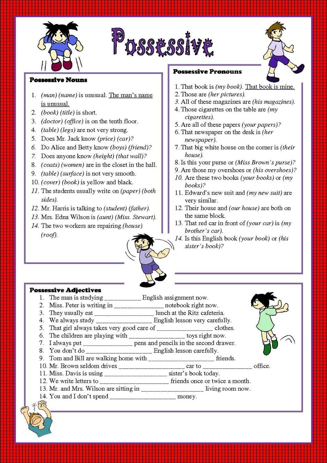 Possessive Pronouns Worksheet | Good English | Pinterest