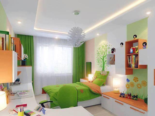 #IdeasParaDecorar con mucha imaginación una pieza de niña  en tonos verdes y naranjas