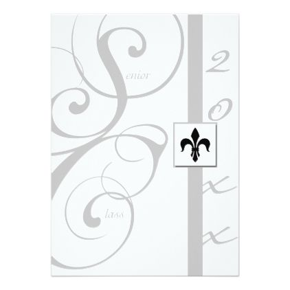 White and Silver Scroll Ribbon Graduation Card Graduation cards