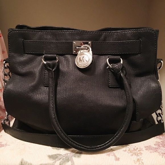 fafe6de910 Michael Kors large Hamilton tote Large Michael Kors Hamilton tote. All black  leather with silver hardware. Gently used no blemishes on the leather.