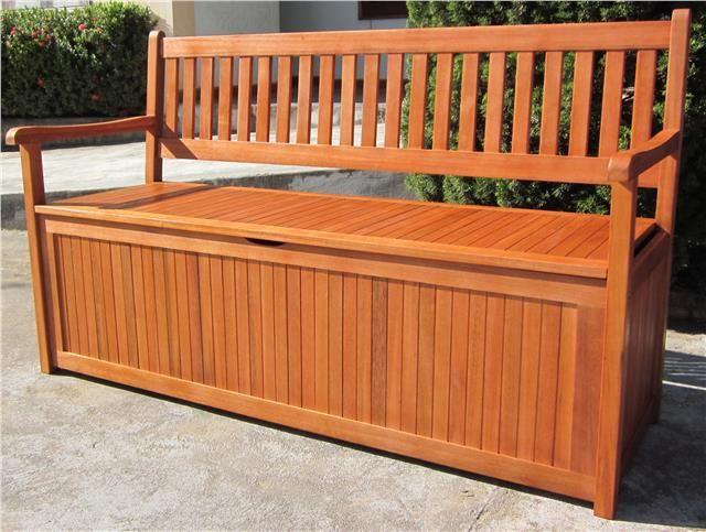 Brilliant Details About Hardwood Wooden Garden Storage Bench 2 And 3 Lamtechconsult Wood Chair Design Ideas Lamtechconsultcom