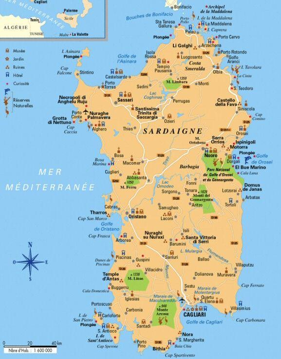 carte touristique de sardaigne - Image