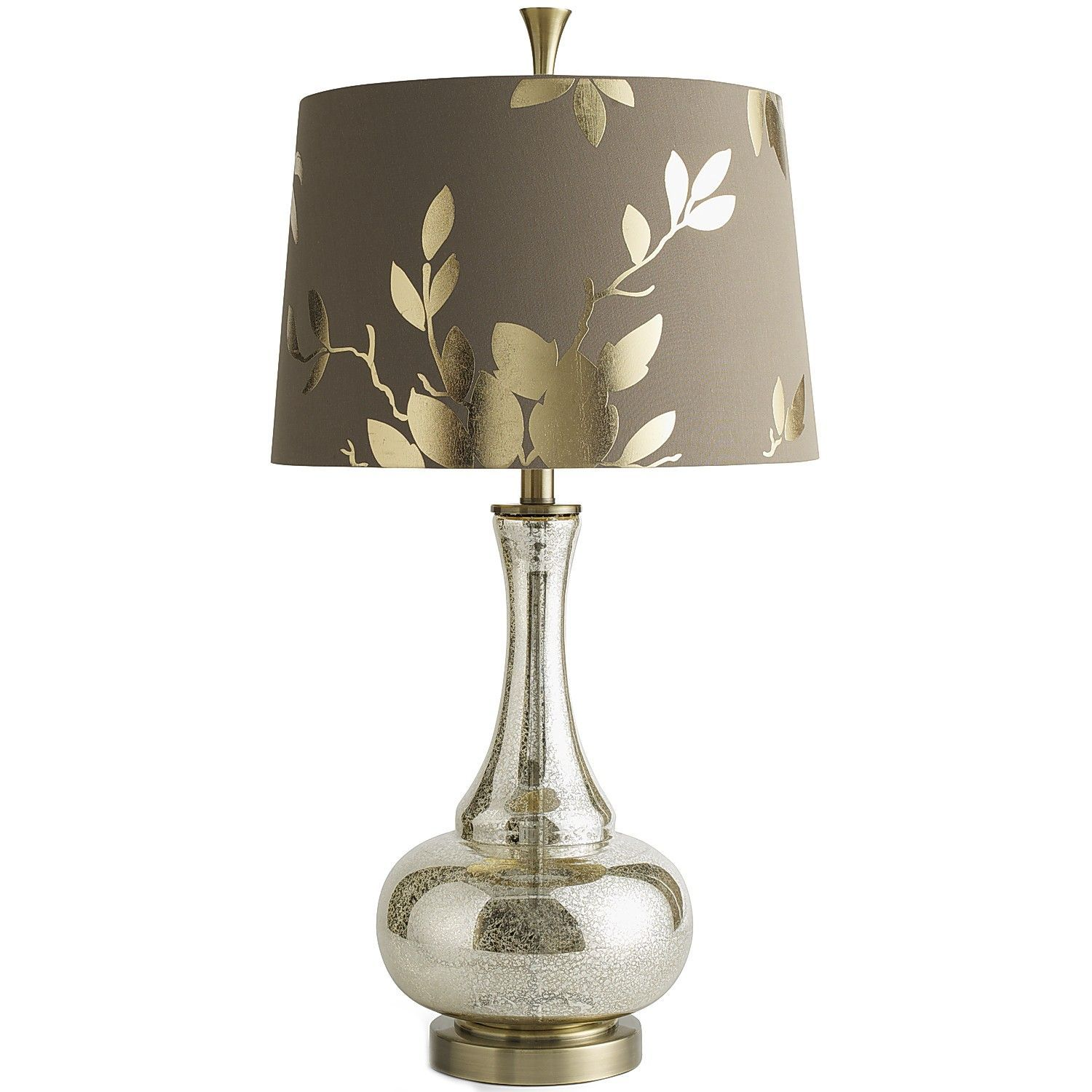 24 In Brushed Steel Gold Mercury Glass Table Lamp With Linen Shade And Led Bulb Included 19560 005 The Home Depot Gold Table Lamp Mercury Glass Table Lamp Table Lamp