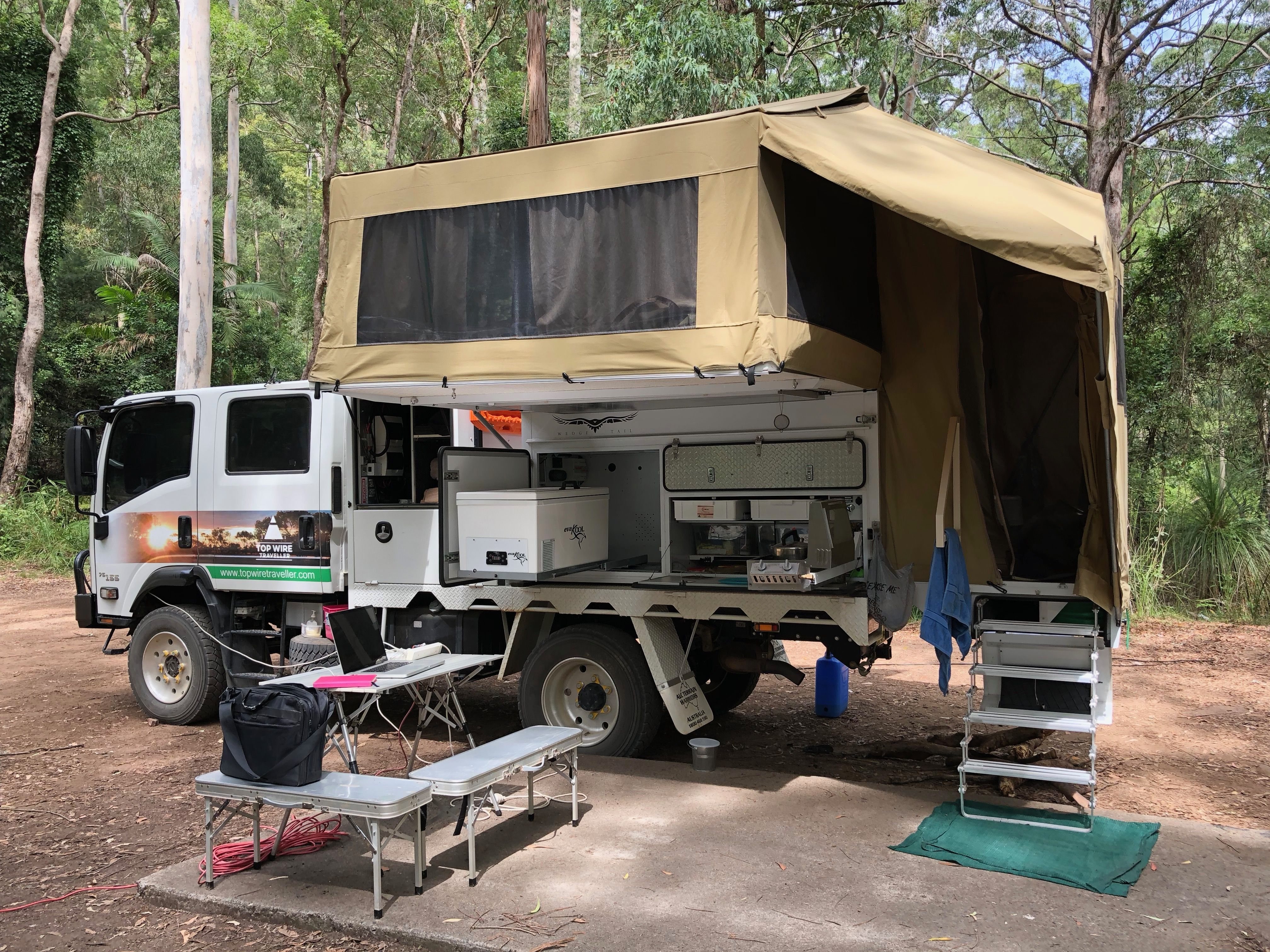 My Office Gap Creek Campground Watagans National Park Nsw Seeaustralia Watagans Gap Creek Mobileoffice Slide In Camper Outback Camping