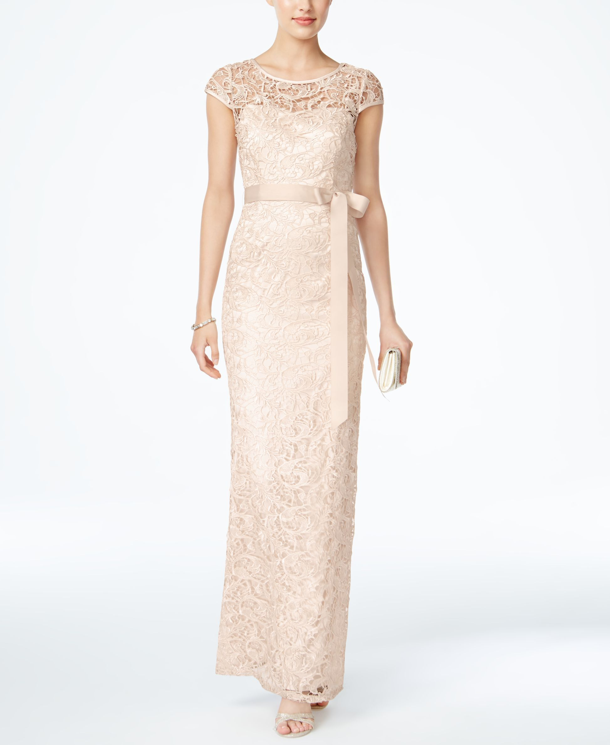 Cap-Sleeve Illusion Lace Gown | Products | Pinterest | Adrianna ...