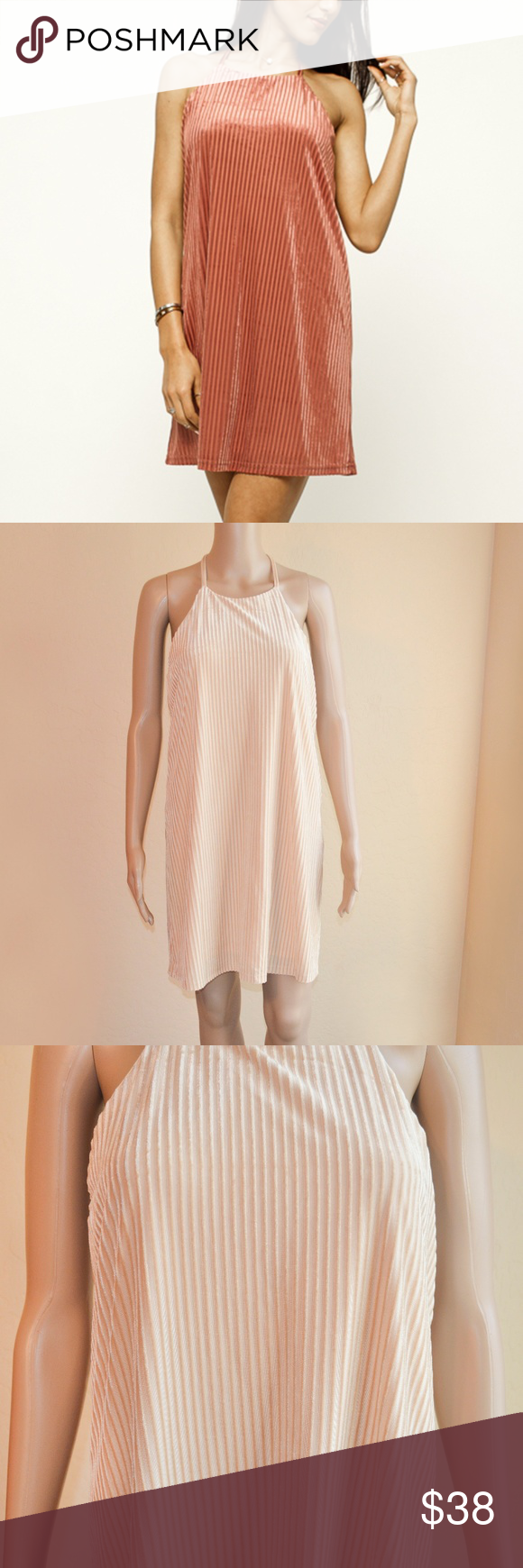 2241f6bdaf19 Very J BIA Beige Stripe Velvet Strappy Swing Dress Strappy swing dress.  Velvet fabric.