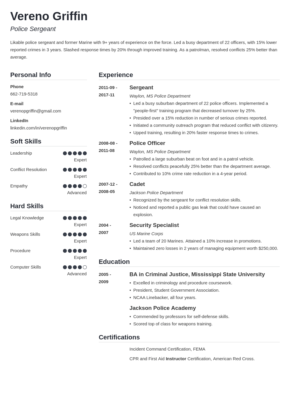 Police Officer Resume Example Template Simple Resume Examples Police Officer Resume Job Resume Examples