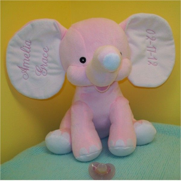 Personalized plush elephant great for newborns baby showers etc personalized plush elephant great for newborns baby showers etc free shipping 3700 negle Images