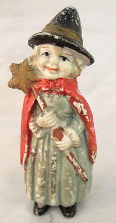 RARE Vintage BISQUE WITCH HALLOWEEN FROZEN CHARLOTTE PENNY DOLL - frozen halloween decorations