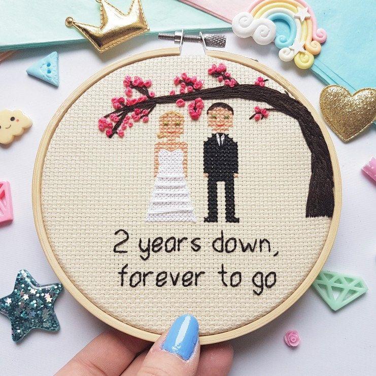 38 Year Wedding Anniversary Gift: Personalised Family Portrait