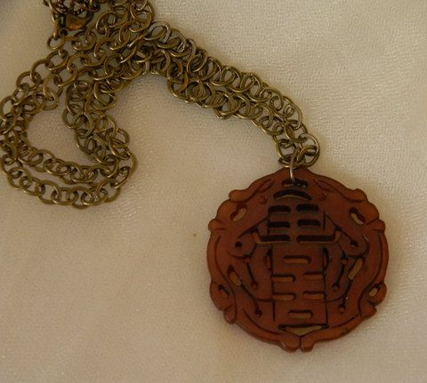 Mens carved Chinese jade pendant necklce carved Asian stone
