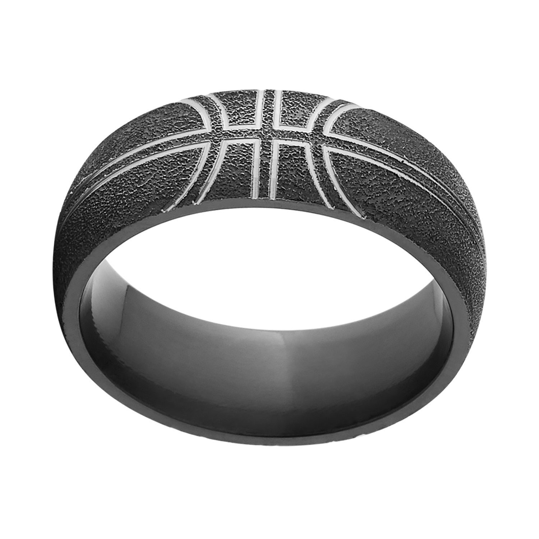 Black Zirconium Comfort-fit Basketball Wedding Band Ring (10.5 ...