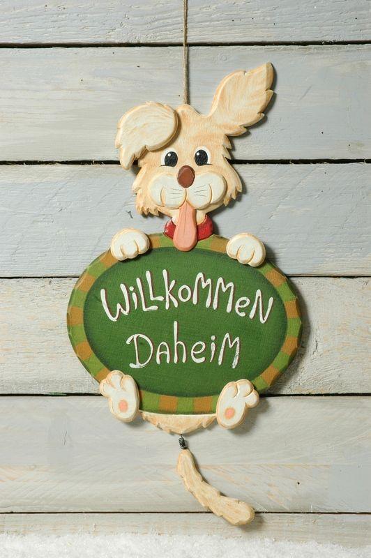 Willkommensschild Hund Handbemalt Holz Handwerkskunst Heimfux De Ist Eine Unternehmung Der Fenestra Gmbh Hobby Handwerk Holz Handwerk Holz Muster