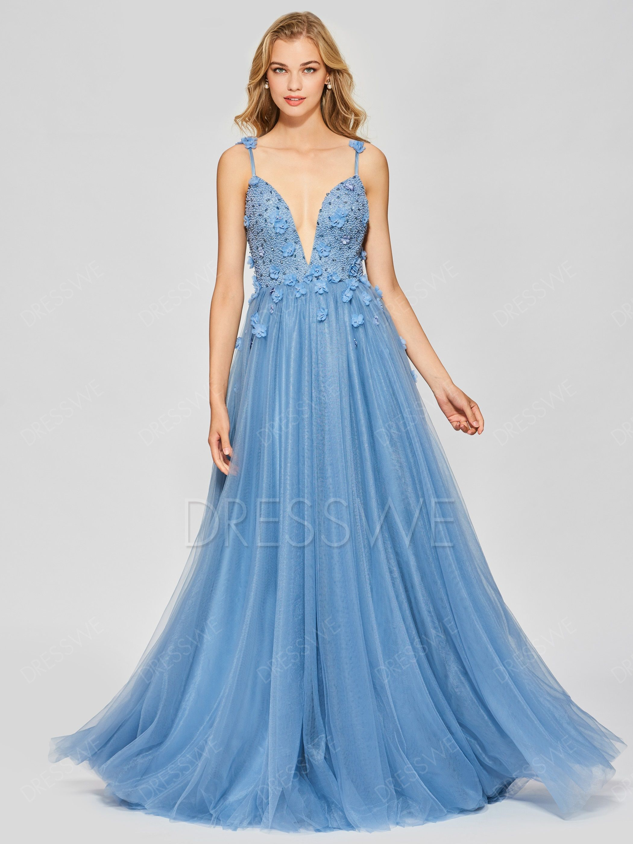 A line long spaghetti straps beaded backless prom dress in