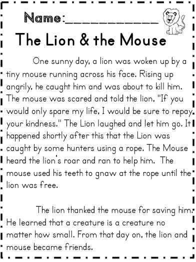 graphic regarding The Lion and the Mouse Story Printable titled Studying for That means: Reading through Webpages Knowing
