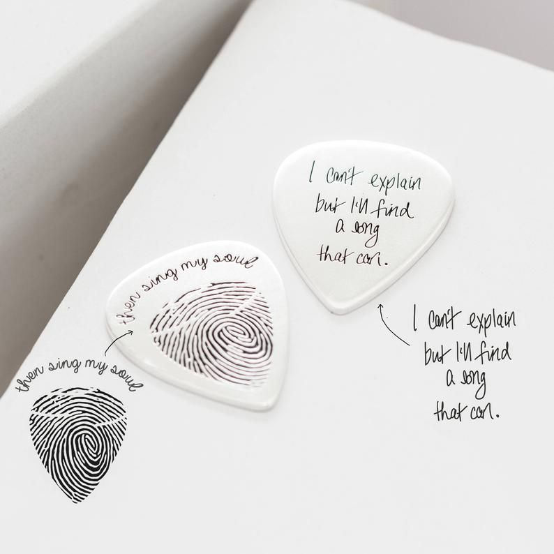 Actual Fingerprint Engraved Guitar Pick Custom Hand Stamped Etsy Guitar Picks Personalized Actual Handwriting Gift For Music Lover