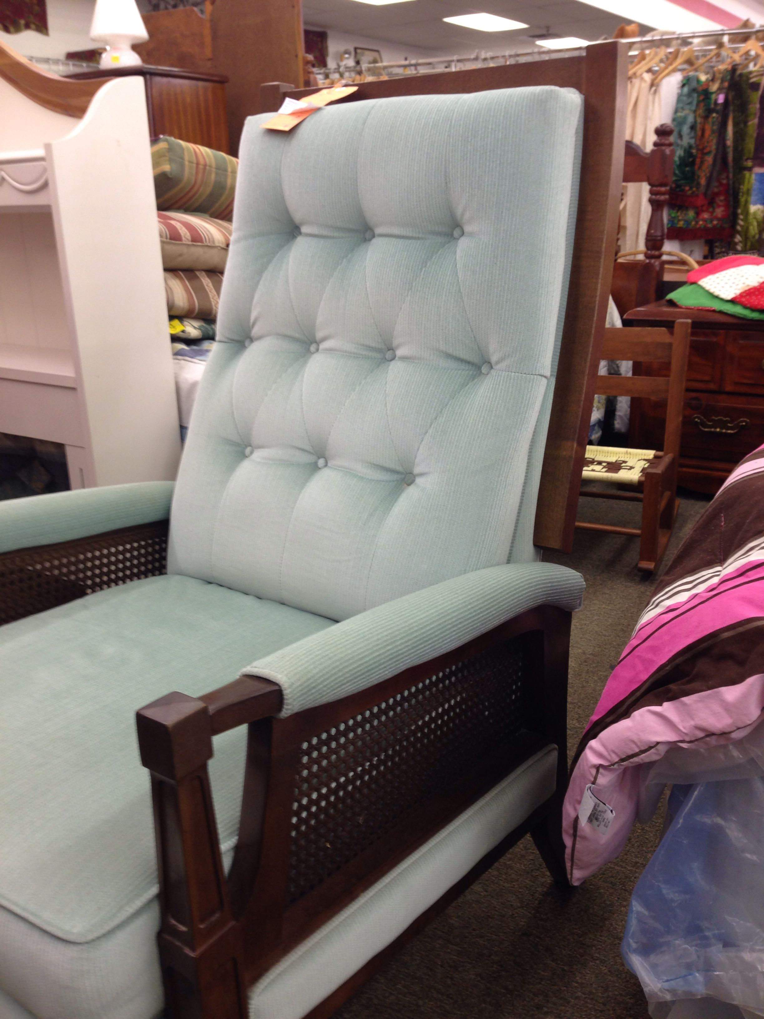 Blue Lazyboy recliner with cane sides for CeCe's room