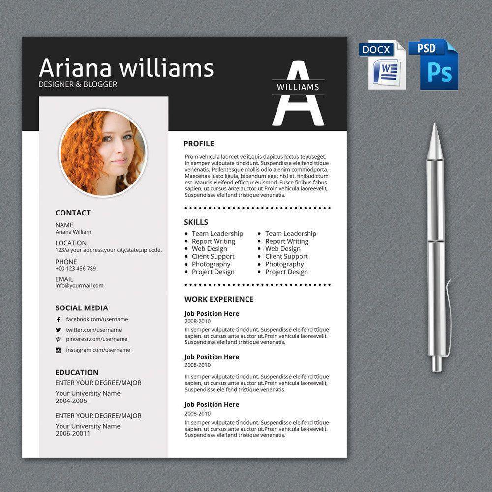 Word Resume Template   Cv Design   Creative Resume   Cover Letter ...