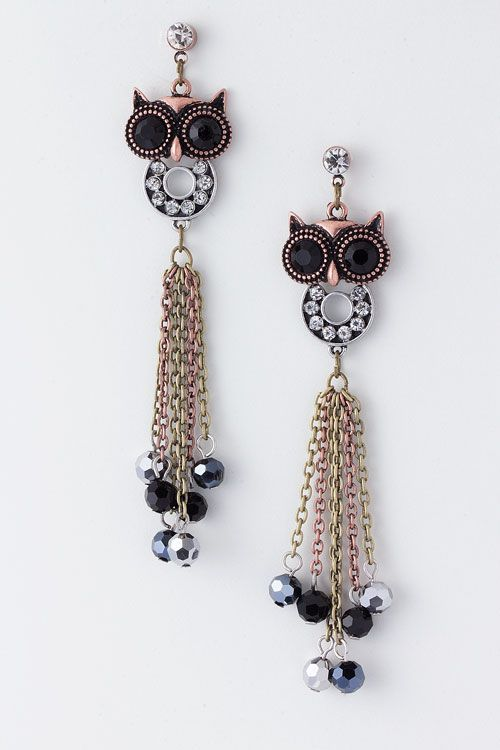 Antiqued Rose Owl Earrings on Emma Stine Limited VIP $39