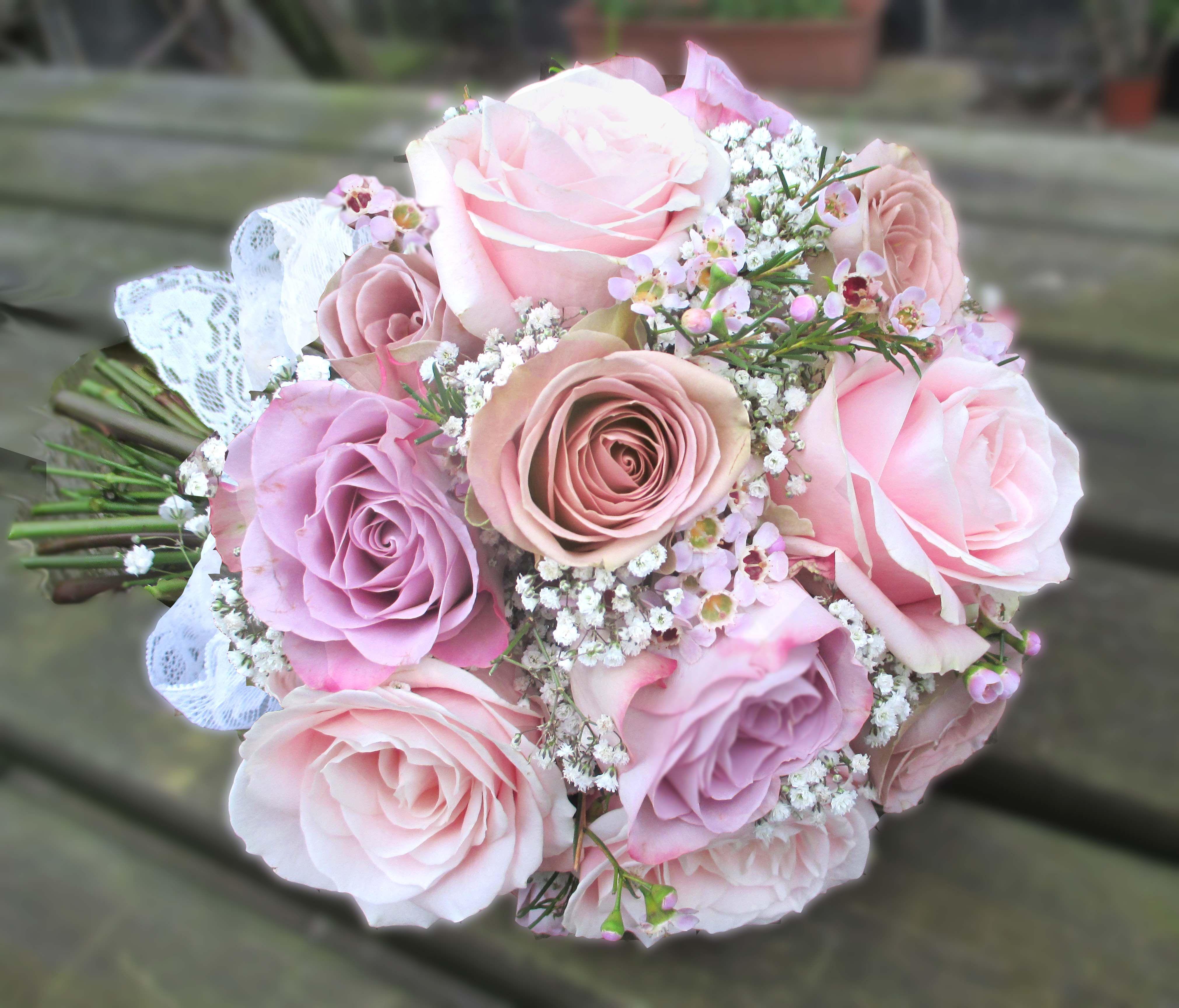 Rose And Gypsophila Bridal Bouquet Wedding Flowers Leeds Florist Designer Yorkshire