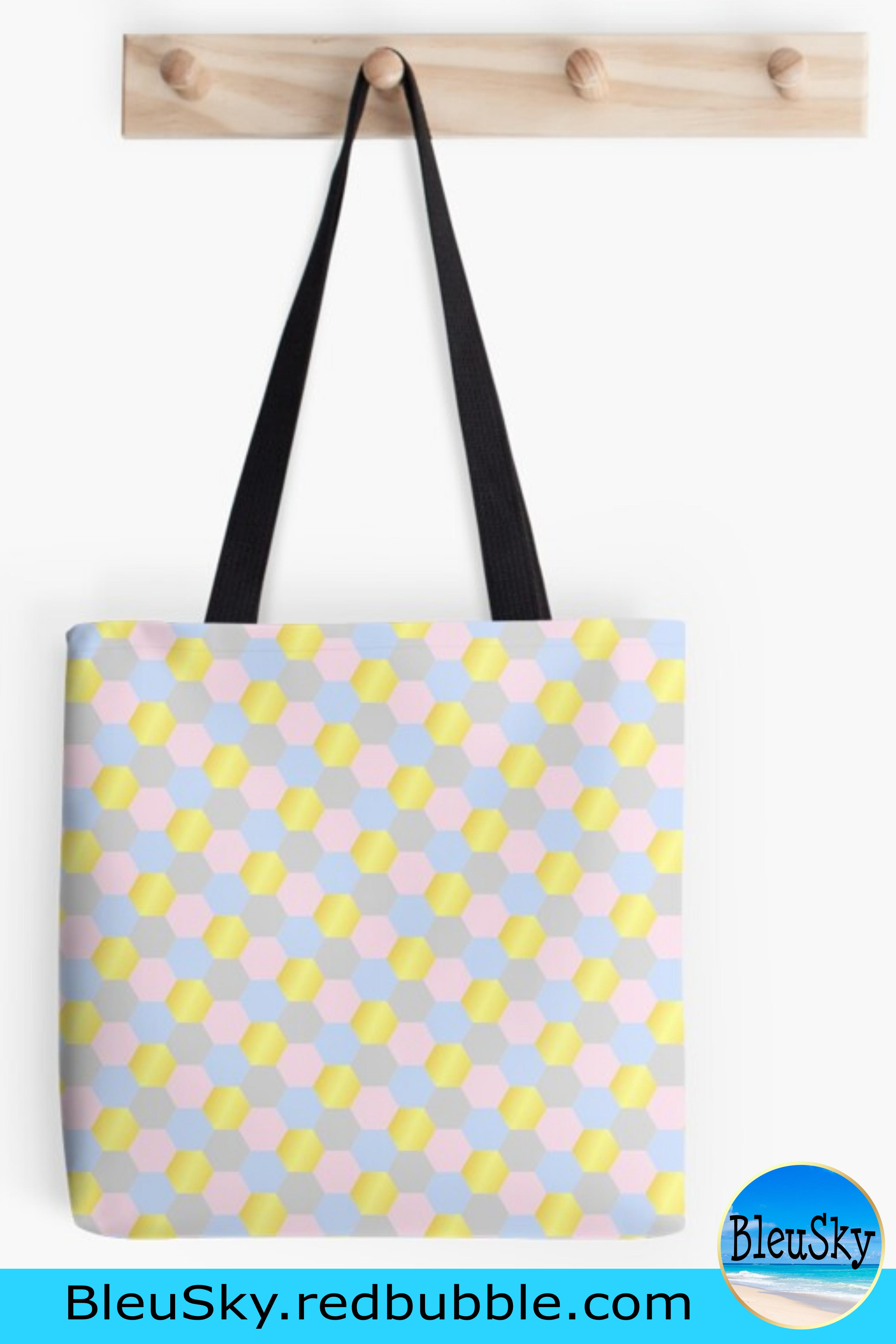 Tote Bag Pastel Gold Hexagon Design Tote Bag Pattern Tote Bag Bags