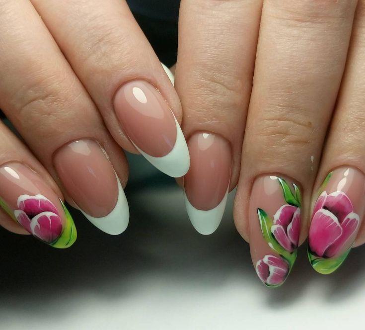 Дизайн ногтей с тюльпанами фото переложите