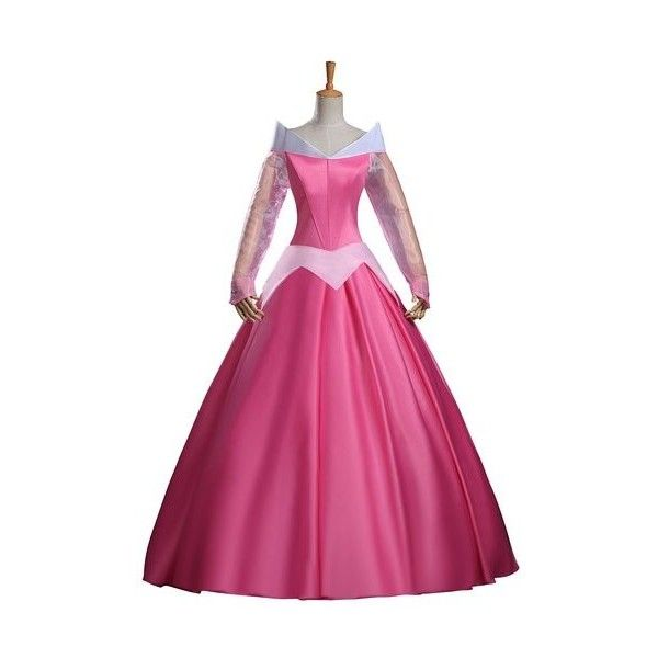 66f02428e2bb Cosrea Disney Sleeping Beauty Aurora Classic Satin Dress Cosplay... ($125)  ❤ liked on Polyvore featuring costumes, pink costume, disney, princess  aurora ...