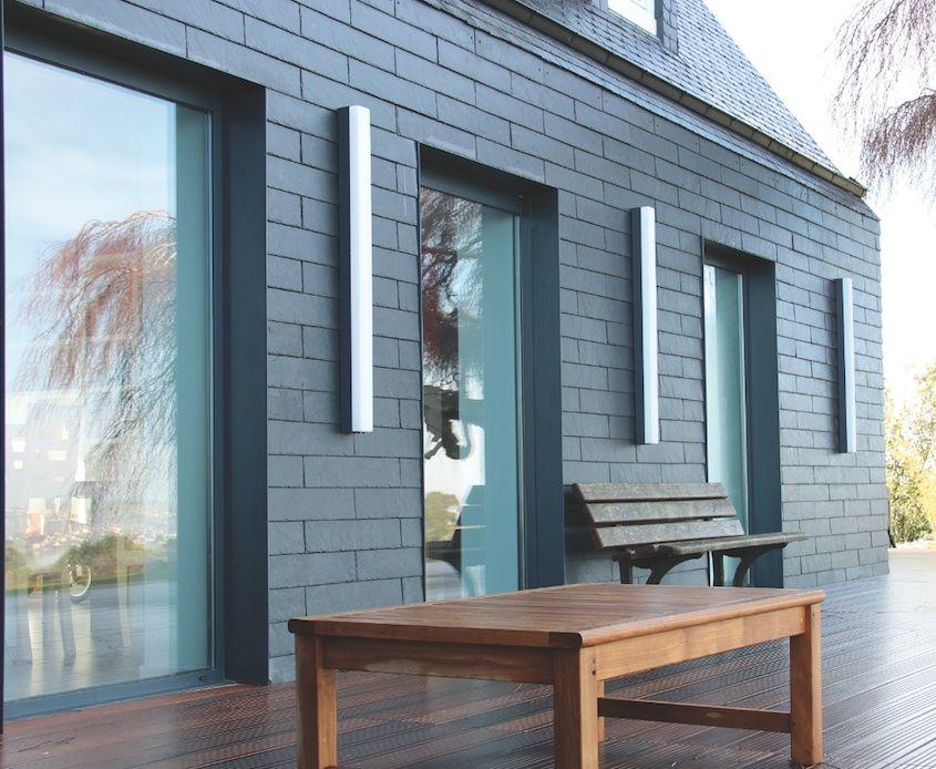 Bardage fa ade en ardoise fa ade bois fibro ciment ou m tallique pinterest architecture - Bardage metallique facade ...