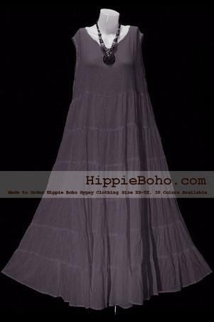 No.005  - Plus Size Gray Cotton Maxi Long Dress Bohemian Summer Clothing Tiered…