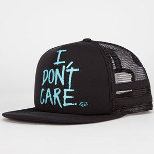 074fc511e20ad Fox Werd trucker hat. I Don't Care screened on foamy front panel. Mesh  back. Adjustable snapback. Imported. Tilly's - Flat Bill ...