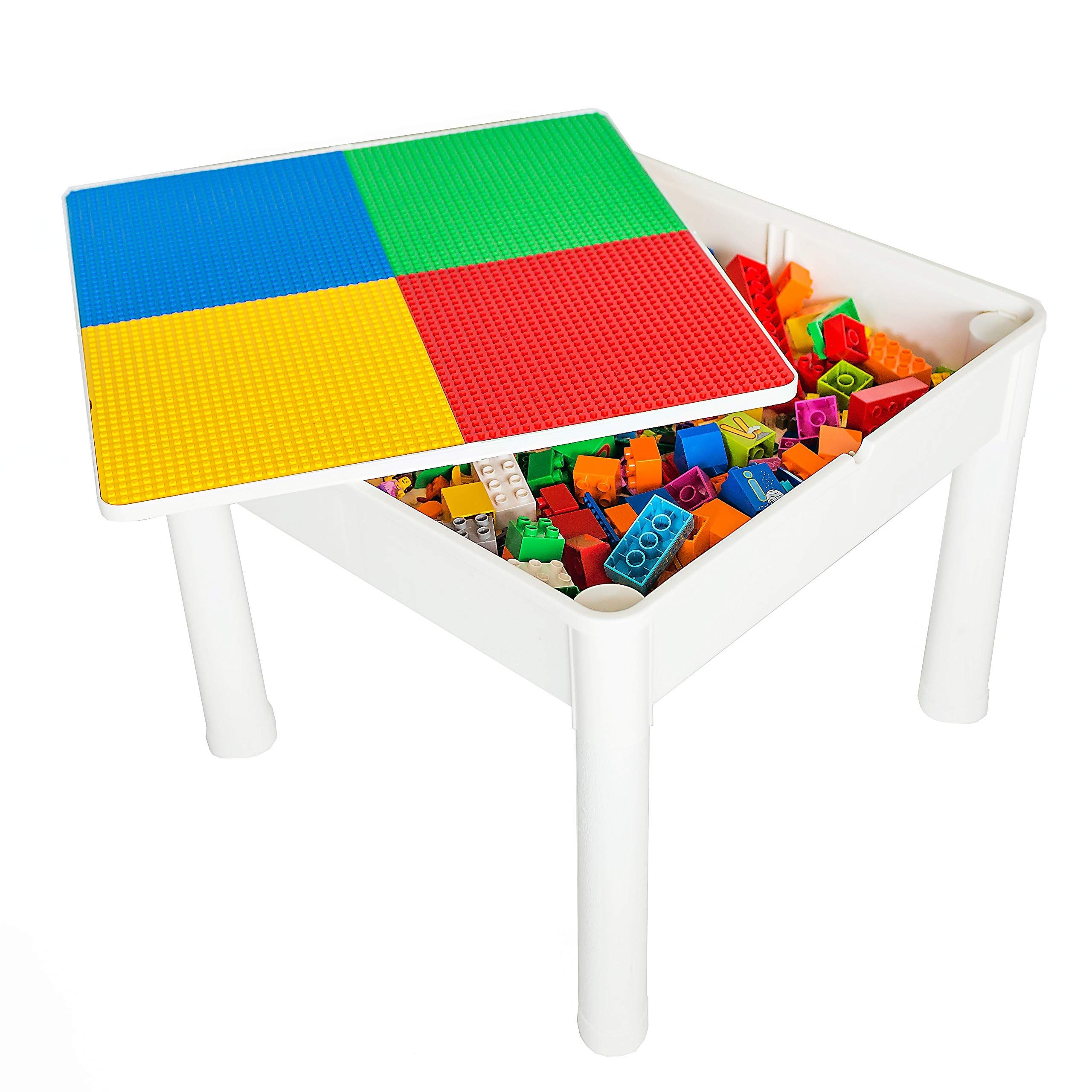 4185ac854a6 Lego Table Kids 4 in 1 Play and Build Table Set for Indoor Activity Outdoor  Water Play Toy Storage and Building Block Fun Compatible w/Lego and Duplo  Bricks ...
