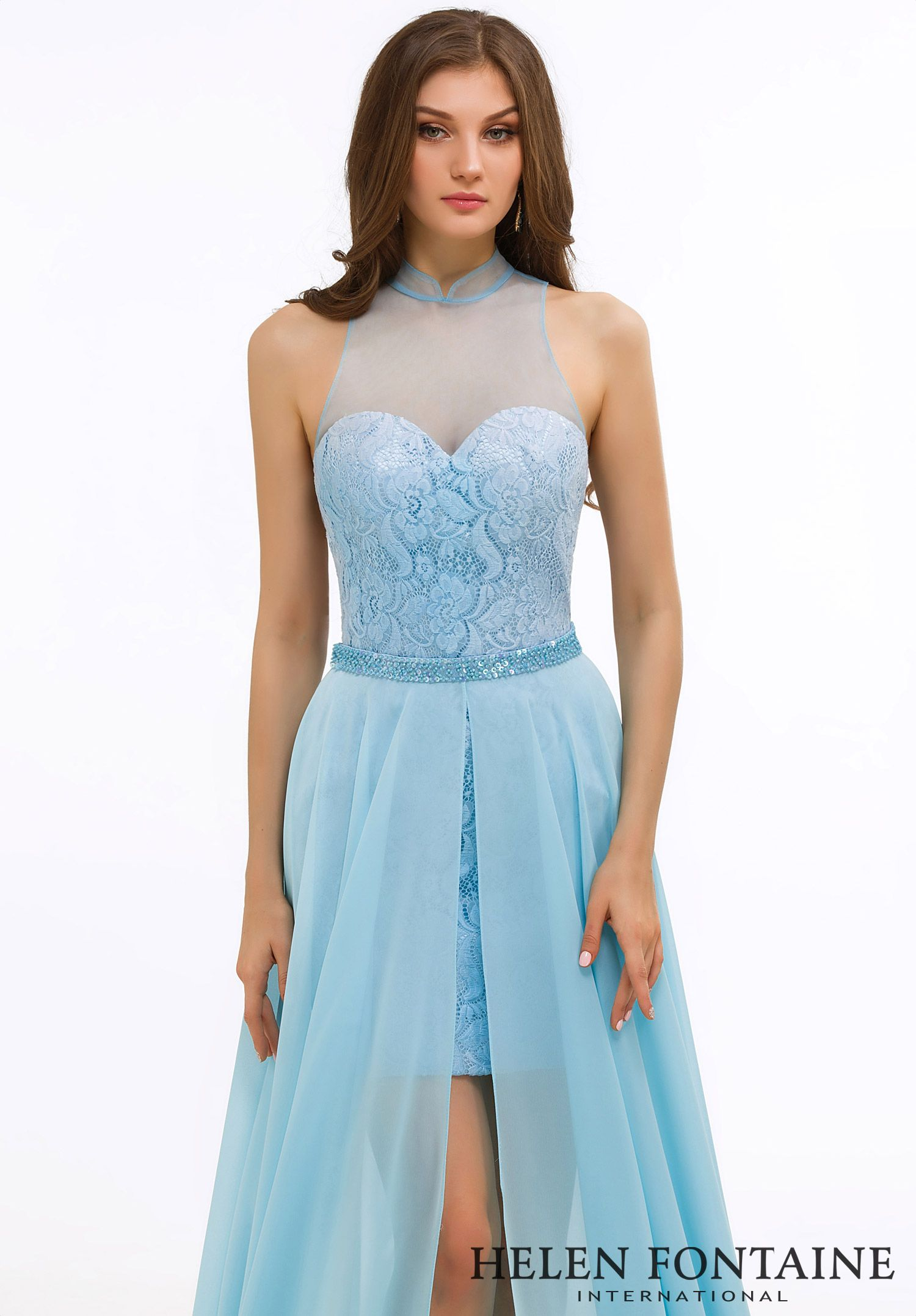 Chiffon Beaded Sleeveless High Neck Open Back Prom Dress.Style ...