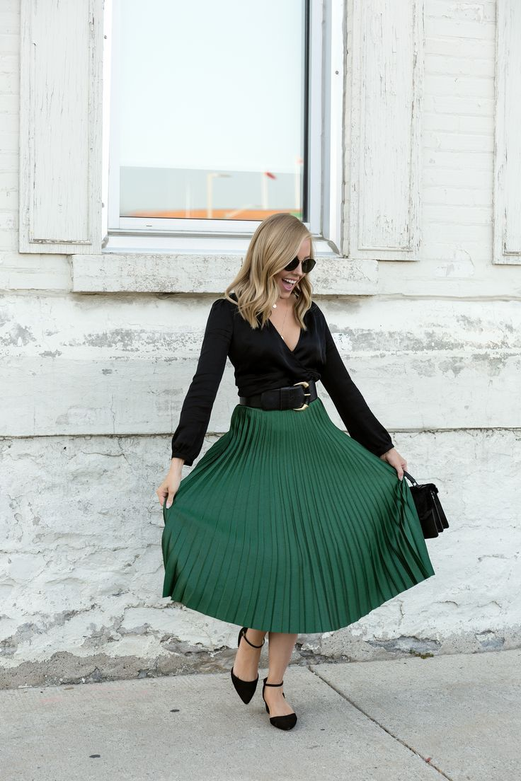 emerald green skirt and classic black blouse  green