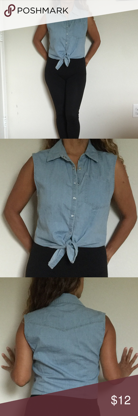 Woven shirt Woven Shirt-Light Denim (Large but can fit small and medium) Forever 21 Tops Button Down Shirts
