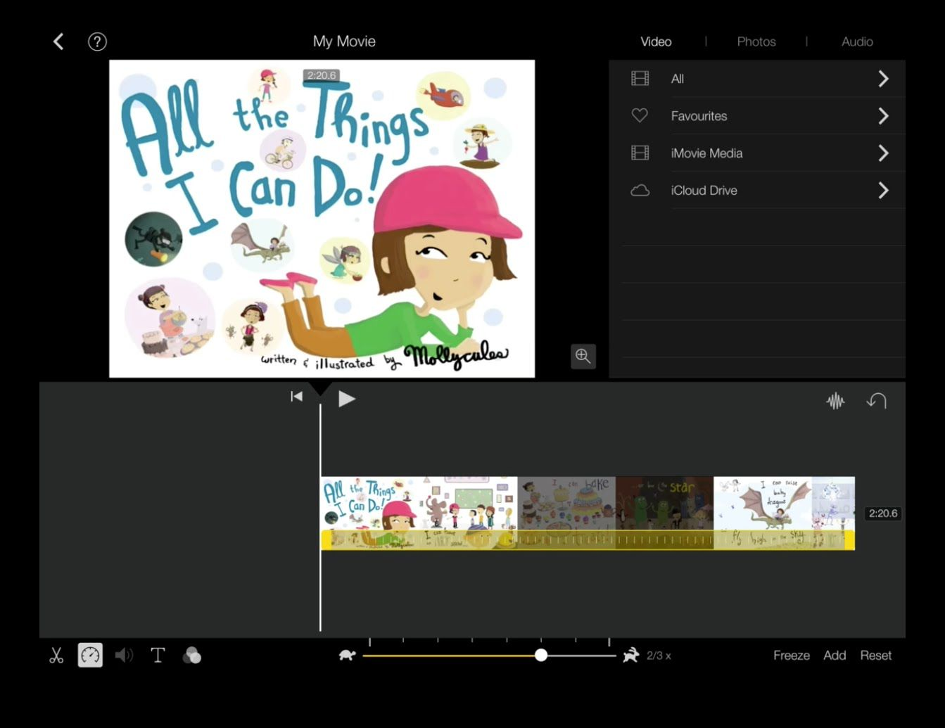 Customising your book creator book in imovie ipaded