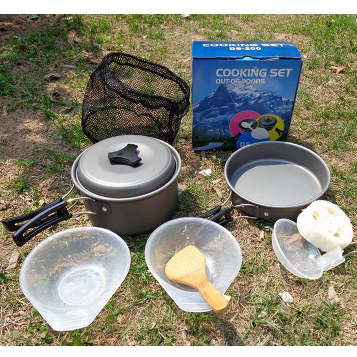 Portable Outdoor Camping Hiking Picnic Cookware Bowl Pot Pan Fork Stove Sets