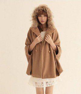 Double-breasted Cute Fashion Cape Fur Hood Coat Loose fitting ...