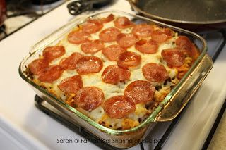 Easy Pizza Pasta Casserole. Good, but make sure you have many to feed!