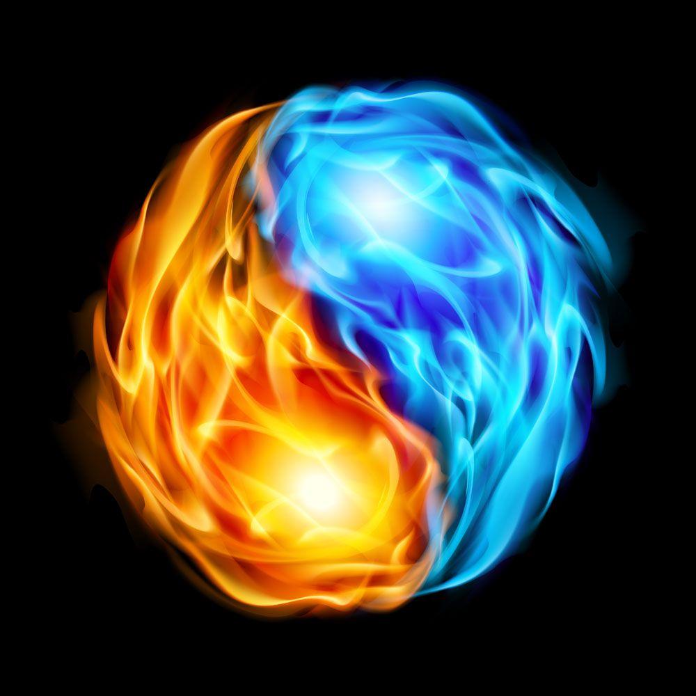 Cool Fire And Water Yin Yang Symbol Random Stuff Twins Yin Yang
