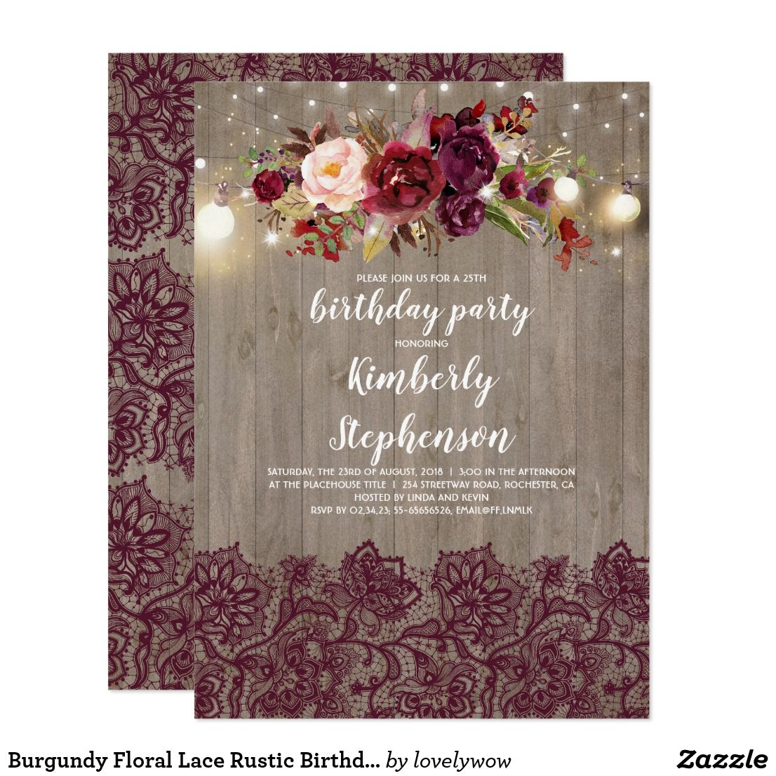 Burgundy Floral Lace Rustic Birthday Party Invitation