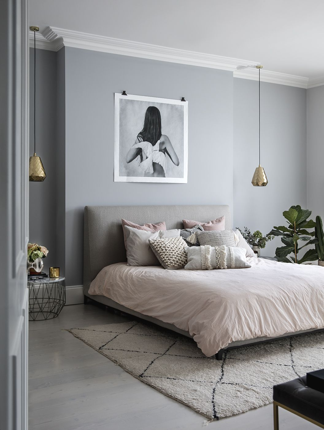 Bedroom designed by Sommer Pyne founder of House Curious. Photography by Rei Moon. Rug, lighting and cushions all available at housecurious.co.uk